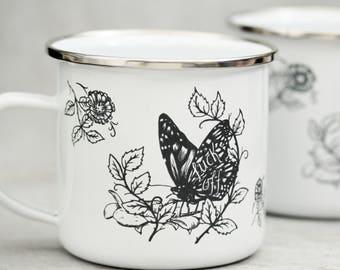 Fuck Off Mug, Butterfly Design Enamel Mug, Floral Design, Designed & Laser Engraved in the UK
