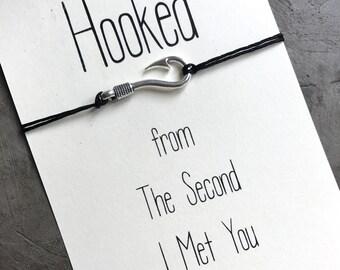 Long distance relationship, Hooked on you, Fish hook bracelet, Gift for her, Couples bracelet, Wish bracelet, Friendship bracelet, A68
