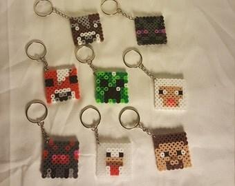 Perler Bead Minecraft Mob Head Keychain