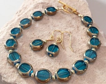 Blue and gold bracelet and earring set, glass bead bracelet and earring set, gift for her, gift for wife, blue bracelet, gold bracelet