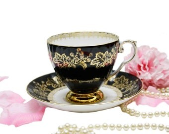Vintage Royal Grafton Black and Gold Teacup, Maple Leaf Design Art Deco, Hand Painted Teacup, Shabby Chic Collectible
