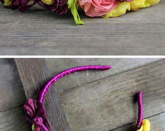 Purple flower crown adult headbands Boho floral crown headband Rustic wedding flower hair accessory Yellow purple flower headband Girl crown
