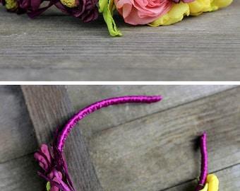 Purple flower crown adult headbands Boho floral crown headband Rustic wedding flower hair accessory Yellow purple flower headband Girl crown