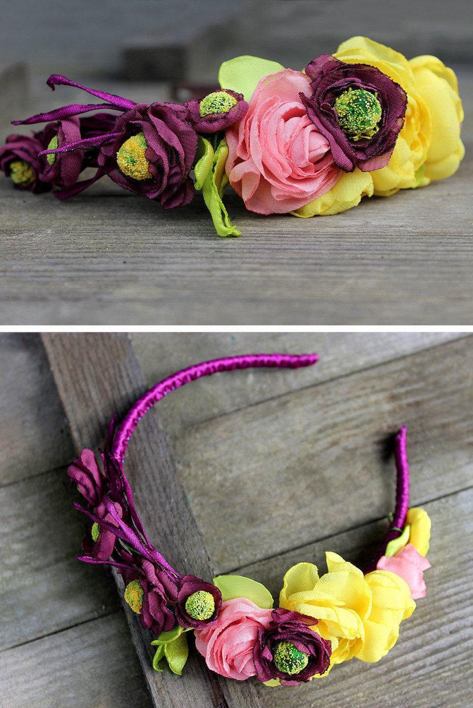 Zara baby hair accessories - Purple Flower Crown Adult Headbands Boho Floral Crown Headband Rustic Wedding Flower Hair Accessory Yellow Purple Flower Headband Girl Crown