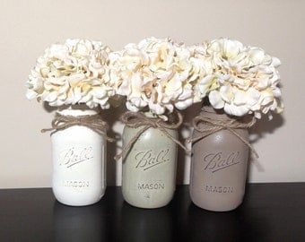 Mason Jar Decor, Painted Mason Jars, Mason Jar Gifts, Rustic Home Decor, Rustic Mason Jar Decor, Rustic Wedding Decor, Shabby Chic