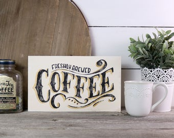 Rustic Coffee Sign - Coffee Bar Farmhouse Wood Sign - Antique Vintage Style Wall Art - Coffee Station Sign - Kitchen Decor - Wooden Sign