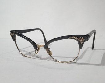 Gray 50s Combination Cat Eye Eyeglasses, Vintage Grey Browline Cateye Glasses Frames, Cat Eyeglasses 1950s Gray Flower Design Gold Filled