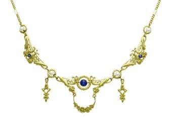 Fine French Art Nouveau Sapphire & Pearl 18K Gold Collier Draperie Flower Wreath Antique Festoon Necklace   Something Blue Wedding Jewelry