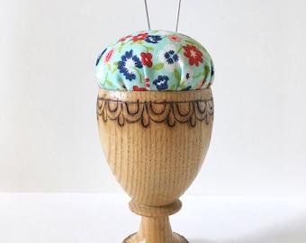 Pincushion, Handmade Pincushion, Eggcup Pincushion, Teacup Pincushion, Mini Pincushion, Wood, Floral, Aqua, Red, White, Blue, Flowers