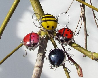 Spider, Bumble Bee, or Lady Bug glass and wire plant pals Glass Bead with wire - Yellow Red Black - Magnets