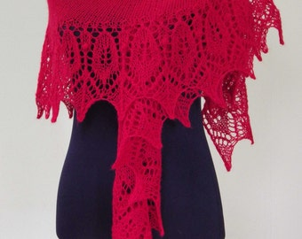 Lace Knit Shawl, Australian Merino, Woollen Shawlette, Luxury Scarf, Red, Hand knitted, Handmade, Gift for Her, Any Occasion, Bohemian Style