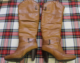 High heels Boots brown leather color camel / Leather Boots  / High Leather Boots / Brown Leather Boots / Camel leather Boots