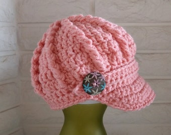 Girl's pink newsboy hat, girl's pageboy, toddler girl's pink hat with brim, accessories, gifts for girls, fall, winter and spring fashion