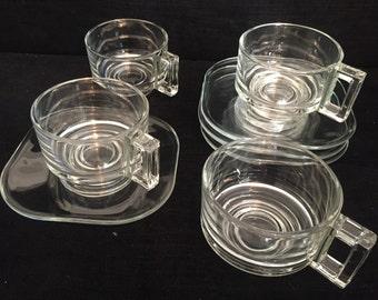 4 Joe Columbo glass cups and saucers