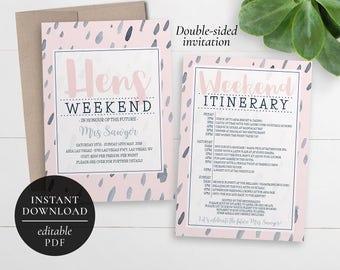 Printable Hens Weekend Invitation | Editable PDF | Bachelorette Weekend |  Hens Party | Hens Weekend