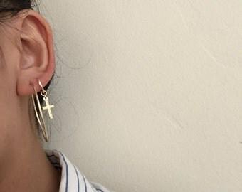 Cross Earrings, Gold Cross Hoops, Small Cross Earrings, Cross Huggie Hoops, Huggie Earrings, Gold Huggie Earrings, Cross-shaped Hoops