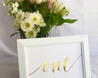 Modern Wedding: Gold Foil Table Numbers! Real foil - Choose any color. Table numbers, centerpiece, table card, number card, place setting