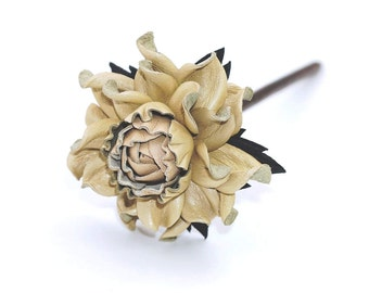 Genuine leather beige rose 7cm & natural wood hair fork 16cm, handmade floral hair jewelry, statement flower hair stick for long hair