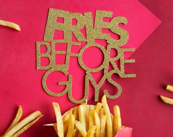 Galentines Day Cake Topper, Galentine's Day, Fries Before Guys, Valentine Day Decor, Valentines Decor, Galentine, Leslie Knope, Gold Glitter