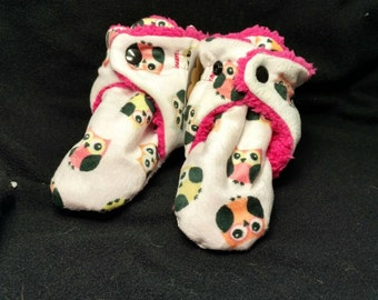 Minky Owl No Slip Gripper Slipper/Booties Stay On Snap Close