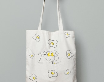 Tote bag personalized, tote bag canvas, Shopping Bag, fried egg, cotton tote bag, market tote bag, Shopping Bag, 2eggsProject tote bag, tote