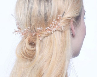 Rose gold hair vine, hair vine, bridal hair piece, blush wedding, blush hair vine, rustic hair accessory, blush pink, blush, blush accessory