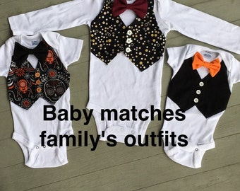 Vest and Bow tie on Onesie OR T'shirt daddy and me match comfortable cute baby boy shower gift portrait family matching outfits mommy and me
