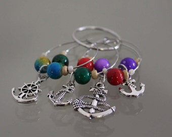 Homemade Nautical Wine Charms - Set of 4