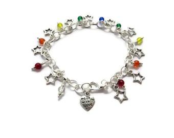 Rainbow jewellery, Star bracelet, Silver charm bracelet, LGBT pride jewelry, Gay pride, Shoot for the stars, rainbow chakra bracelet, LGBT