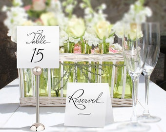 "Printable Wedding Table Numbers Template. Wedding numbers 1 to 40 and Reserved and Top Table signs. Use tentfold or in a clip. 5"" square."