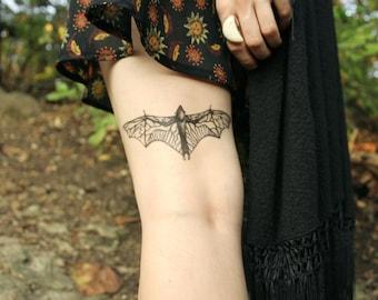 Bat Temporary Tattoo, Black Ink Flying Animal Tattoo, Nature Tattoo