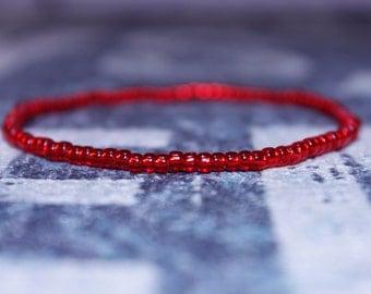 Kabbalah Red Bracelet for Men - Beaded Red Kabbalah Bracelet -Seed Beaded Bracelets