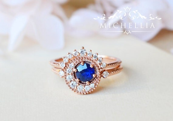 Natural Blue Sapphire Engagement Ring Set, Crescent Moon Blue Sapphire Bridal Ring Set
