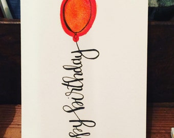 Happy Birthday Card, Watercolor Card, Red Balloon Card, Birthday Card, Custom Birthday Card, Card, Gift for Her, Gift for Him