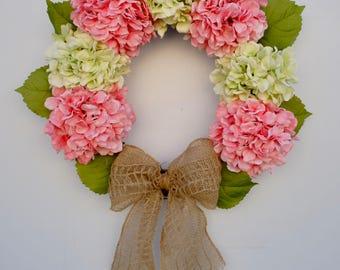 Spring Hydrangea Wreath, Summer Hydrangea Wreath, Pink & Green Hydrangea Wreath, Grapevine Hydrangea Wreath, Burlap Hydrangea Wreath