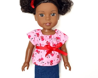 Mini Skirt, Denim, Jean, Blue, Fits dolls such as American Girl Wellie Wishers , 14 inch Doll Clothes, 14.5 inch, Summer
