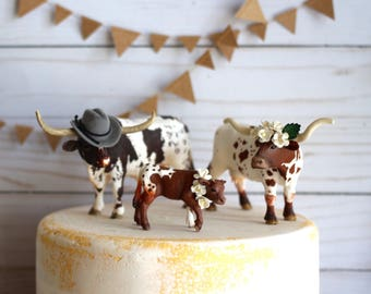 Rustic Wedding Cake Topper Western Wedding    Longhorn  Country Wedding Cowboy Wedding  University of Texas