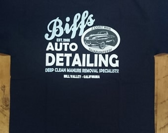 Biffs Auto Detailing Hill Valley California, Biff Tannen, Marty McFly, Doc Brown, Delorean, Time Travel, Geek Gift, Back To The Future