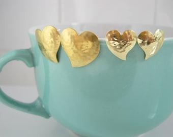 """Brass simple heart earring """"Cuori"""" (Two size)"""