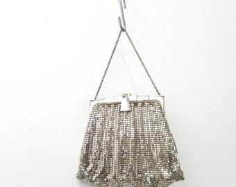 Vintage Whiting & Davis Co. Clutch Purse ... Silver Chain Mail Mesh Evening Bag...Flapper Handbag...Art Deco...Silver Plated