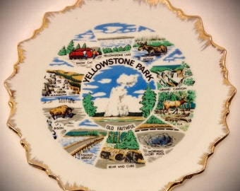 Yellowstone Park Decorative Plate small, gold trim, collectible, national park, vacation spot, mint, nice piece, fast shipping, first class,