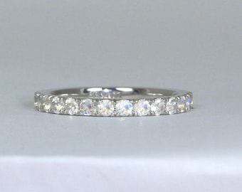 Moonstone Eternity Band, Wedding Band, Eternity Wedding Band, Wedding Ring, Rainbow Moonstone Promise Ring Bridal Ring Anniversary Ring gift
