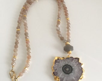 Amethyst stalactite and moonstone necklace