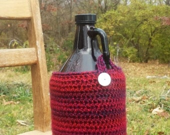 Crocheted Beer Growler Cover/Cozy -- Shades of Crimson