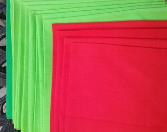 Seven Lime green & 4 red cotton napkins