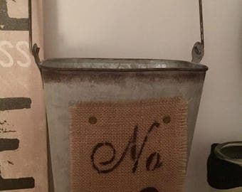 Metal and Burlap bucket, canister, storage, Rustic, Farmhouse, Shabby chic, French Country, cottage, home decor, farmhouse decor