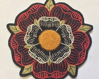 Hand Embroidered Large Tudor Rose Patch