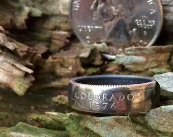 Colorado state quarter coin ring