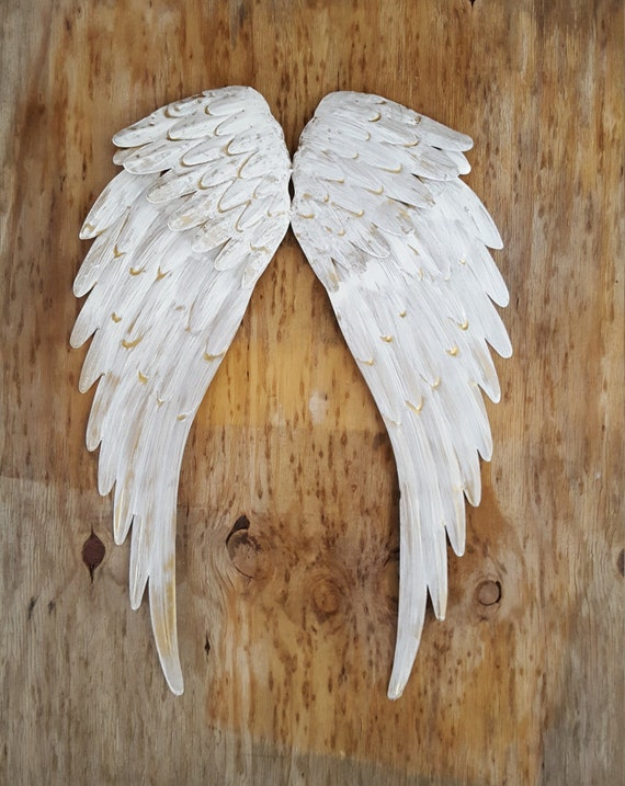 Rustic Angel Wings Wall Decor : Metal angel wings wall decor cross rustic shabby chic