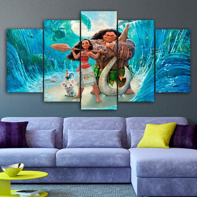 moana canvas print disney 5 panel canvas cartoon wall decor